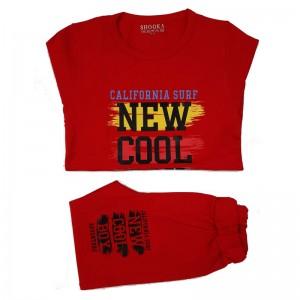 ست بلوز شلوار پسرانه مدل NEW رنگ قرمز