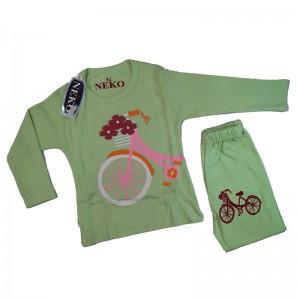 ست بلوز شلوار دخترانه مدل bicycle رنگ سبز