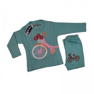 ست بلوز شلوار دخترانه مدل bicycle رنگ آبی آسمانی