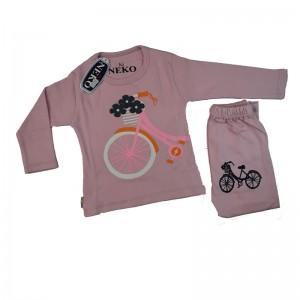 ست بلوز شلوار دخترانه مدل bicycle رنگ صورتی