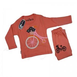 ست بلوز شلوار دخترانه مدل bicycle رنگ گلبه ای