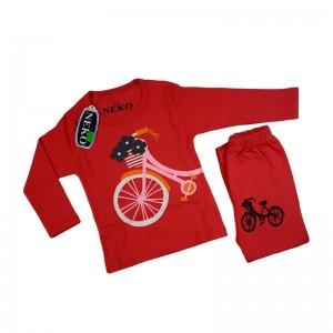 ست بلوز شلوار دخترانه مدل bicycle رنگ سرخ آبی