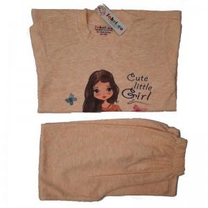 ست بلوز شلوار دخترانه مدل Cute Little Girl رنگ گلبه ای