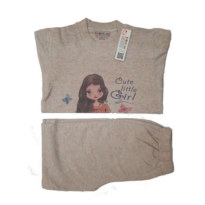 ست بلوز شلوار دخترانه مدل Cute Little Girl رنگ نسکافه ای