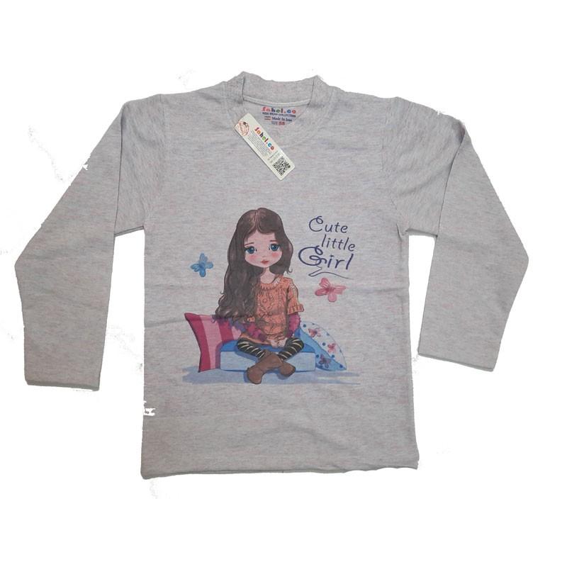 ست بلوز شلوار دخترانه مدل Cute Little Girl رنگ طوسی
